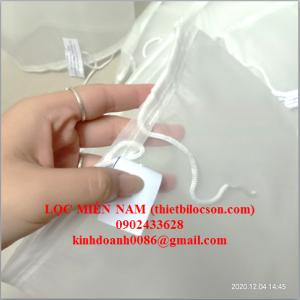Túi size 4 lọc nước ép trái cây bằng vải NMO 150 micron kết cấu miệng dây rút