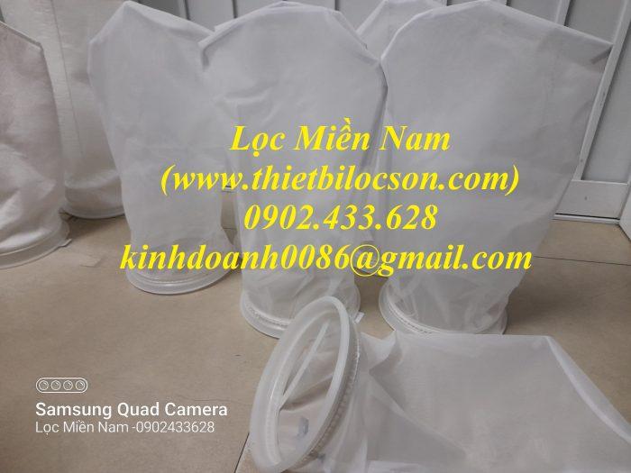 Túi lọc dạng lưới vải nylon NMO dùng trong lọc cặn bia
